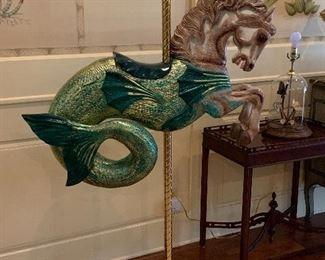 One of 2 whimsical carousel sea horses