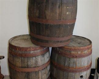 whiskey barrels from Barkett's Restaurant in Seadrift