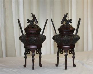 "Japanese bronze censers, early to mid 20th century - measure approx 11"" tall - 6"" wide - asking $925 for the pair"