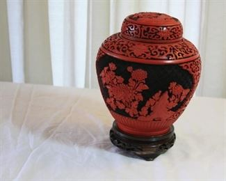"Cinnabar jar with lid p 6 1/2"" tall- 5"" dia - $125"