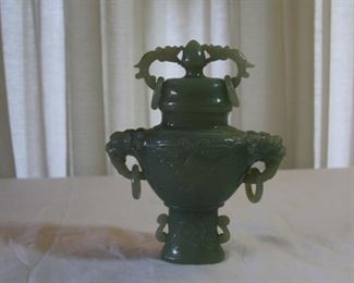 "Chinese Jade jar with lid - measures 6 3/8"" tall, 5 1/4"" wide - asking $595."