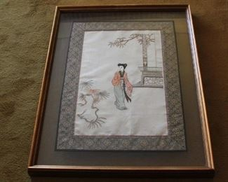 "pair of Chinese framed silk textiles - framed 25 5/"" x 33 1/2"" - asking $325 for the pair"