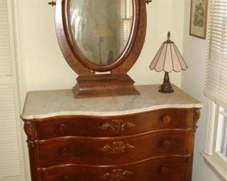 walnut Victorian serpentine front 4 drawer chest