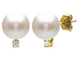 DaVonna 14k Yellow Gold 9-10mm Freshwater Pearl 0.06 Diamond Accent Earrings- Retail:$130.49