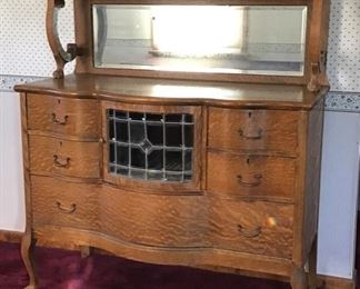 Antique Oak Sideboard/ Server w/ Leaded Glass Door