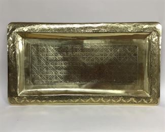Moroccan Etched Brass Tray