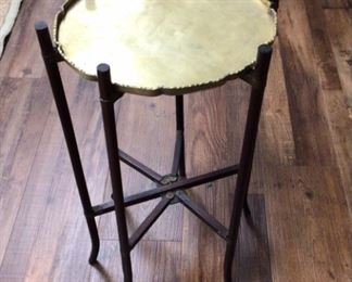 Vintage wooden folding table with brass tray
