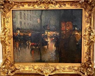"""Edouard Cortes French (1882-1969) Boulevard Des Capucines Oil on canvas size 21 x 28 1/2"""". This painting was said to have once hung in General Pershing's office"""