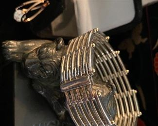 """TIFFANY & CO. - 18KT  + STERLING """"Jail House Cage"""" Design HEAVY Bracelet + MUCH MORE FINE 14KT GOLD /STERLING JEWELRY + Amazing Costume to follow in our photos.  Please check back more added daily"""