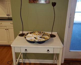 Vintage Painted table, LazySusan,  Candlesticks