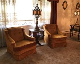 Pair Vintage Velvet Chairs, Mahogany Leather Top Table, Decorative Amber Glass and Gilt Metal Tall Lamp