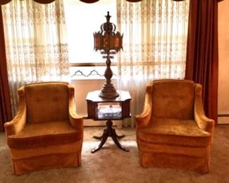 Pair Vintage Velvet Chairs, Mahogany Leather Top Table and Decorative Amber Glass and Gilt Metal Tall Lamp