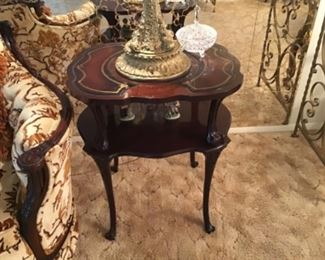Mahogany Leather Top Table One of Pair