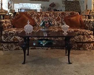 Vintage Curved Sofa w/ Carved Mahogany Trim