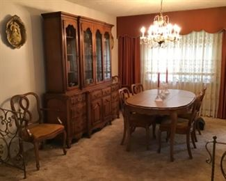 Dining Room Table w/ Three Leaves, Six Chairs and China Cabinet