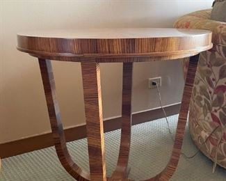 """LOT #101 - $950 - Stunning St. Honore French Art Deco Zebrawood Occasional / Side Table, William Switzer, The Lucien Rollin Collection (approx. 27.5"""" Dia x 28.25"""" H)"""