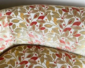"""LOT #103 - $600 - Beautiful Curved Sofa with Flocked Upholstery, Leaves Motif (approx. 95"""" L)"""