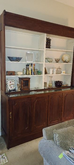Old Oak Drugstore Cabinet with top sliding doors.  8' tall, 6' wide