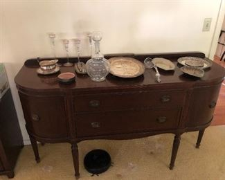 Sterling flatware, glass candle sticks, Buffet