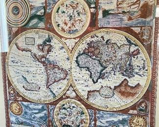 Framed silk scarf of world atlas.