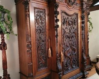 Magnificent Renaissance Revival Armoire cabinet. Absolutely perfect condition. 9 1/2 ft. Tall