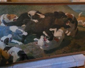 """Very large oil painting  of dogs hunting a wild boar, 43""""x79"""" circa 1900, by Lajos Zombory (1867-1933) . Perfect for your hunting lodge!"""