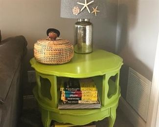 Unique stylish table and Mercury glass lamp.  The vintage handmade Seminole basket sold.