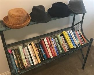 Just a few of the books and hats available.  Nice book rack too!