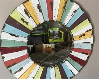 Neat multicolored mirror - rug in the mirror sold but we have other rugs for sale.  The vintage office is still available.