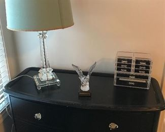 Dresser sold today.  The items on the dresser are still available.  The eagle is lead crystal.