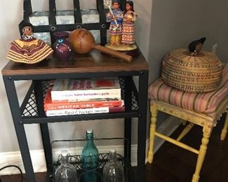 Metal and wood table is still available.  We have a few of the vintage Seminole Indian handmade items but they are going fast.  The bench is still available too.