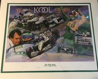 Vintage print numbered and signed by four drivers