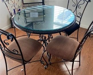 Glass top table and 4 chairs $125 set