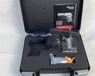 """Serial - 52E062894 Mfg - Sig Sauer Model - P938 Pistol Caliber - 9mm Luger Barrel - 3"""" Capacity - 6+1 Type - Pistol Located in Chattanooga, TN Condition - 1 - New This is a Sig Sauer P938 Pistol new in box with a rubberized grip, making this pistol extremely ergonomic. This pistol comes with the factory box, one flush magazine, and a pinky extension magazine."""