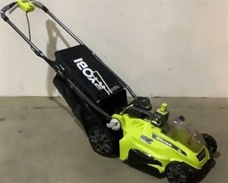 """Located in: Chattanooga, TN MFG Ryobi Model P1100 Ser# EU20201N030109 Power (V-A-W-P) 18V 18V Electric Mower 16"""" Cutting Dia. *Battery and Charger Included* **Sold as is where is**  SKU: E-1-C Tested-Works"""