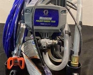 Located in: Chattanooga, TN MFG Graco Ser# G20B257025621639 Power (V-A-W-P) 120V - 60Hz - 7A Magnum Project Painter Plus **Sold as is Where is**  SKU: E-1-C Unable To Test