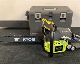 """Located in: Chattanooga, TN Condition """"Return, Unused"""" MFG Ryobi Model RY3818 Ser# EU19076D021132 Power (V-A-W-P) 38cc 18"""" Chain Saw *Sold As Is Where Is*"""