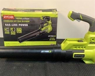 """Located in: Chattanooga, TN Condition """"Return"""" MFG Ryobi Model RY40408VNM Ser# LT20161N010685 Power (V-A-W-P) 40V Cordless Jet Fan Blower Does Not Include Battery Charger Included Missing a Tightening Bolt For Handle *Sold As Is Where Is*  SKU: L-4-A Tested-Works"""