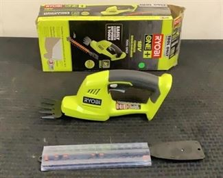 """Located in: Chattanooga, TN Condition """"Return"""" MFG Ryobi Model P2900 Ser# EU20122N190446 Power (V-A-W-P) 18V Cordless Shear/Scrubber With Attachment Battery And Charger Not Included *Sold As Is Where Is*  SKU: L-4-A Tested-Works"""