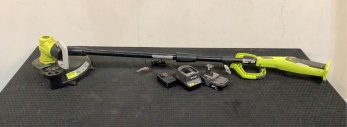 """Located in: Chattanooga, TN Condition """"Return"""" MFG Ryobi Model P2008 Ser# EU19385N190363 Power (V-A-W-P) 18V Trimmer/Edger Battery & Charger Included *Sold As Is Where Is*  SKU: F-4-A Tested- Works"""