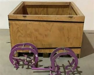 """Located in: Chattanooga, TN 8"""" Pipe Clamps And Wooden Crate Crate Dimensions: 48""""W x 43""""D x 27""""H **Sold as is Where is**  SKU: N-6-C"""