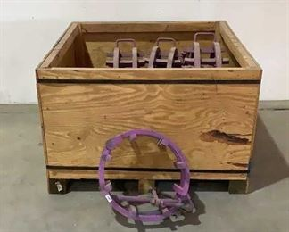 """Located in: Chattanooga, TN Assorted Pipe Clamps And Wooden Crate Pipe Clamps Range From 10"""" - 20"""" Crate Dimensions: 48""""W x 43""""D x 27""""H **Sold as is Where is**  SKU: P-3-C"""