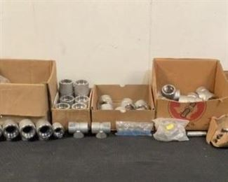"""Located in: Chattanooga, TN Assorted Stainless Steel Pipe Fittings Lot Includes: (6) 1-1/2"""" Elbows (7) 1-1/2"""" Tee's (51) 1/2"""" Tee's (24) 1/4"""" Tee's (14) 1-1/2"""" Couplings (19) Pipe Flange Etc. *Sold As Is Where Is*  SKU: S-6-B"""