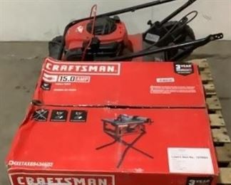 """Located in: Chattanooga, TN Condition """"Return"""" MFG Craftsman Table Saw And Lawnmower *NOTICE* before placing your bids, these items are one of the following: Returned Item, Discontinued and/or Damaged Product. It is possible that items could be missing parts/pieces. Compass Auctions & Real Estate LLC is not responsible for any damaged or missing items so please inspect before bidding. Thank you, Team Compass. **Sold as is Where is** Unable To Test"""