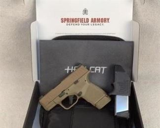 """Mfg - Springfield Model - Hellcat Caliber - 9mm Luger Barrel - 3"""" Capacity - 13+1 Type - Pistol Located in Chattanooga, TN Condition - 1 - New This is a desert FDE version of the Springfield Hellcat, one of the most popular EDC guns shortly after its early 2020 release. This sub-compact firearms has some awesome features including front slide serrations, a non- proprietary rail, a great flat trigger out of the box and a loaded chamber indicator. Maintaining adequate magazine capacity in such a compact firearm is a huge win for Springfield armory, this particular piece comes with both a 13 and 11 round magazine."""