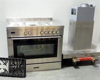 "Fratelli Onofri 36"" Commercial Dual Fuel Range Oven Model USAFREV905S, With Island Hood (Controls On Both Sides), Believed To Be In Working Condition"