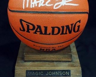 "Earvin ""Magic"" Johnson Autographed Basketball With COA And Stand"
