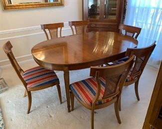 #1	Thomasville Dining room cherry table with 2 leaves and  6 chairs  44x64-88x30	 $275.00