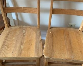 #9oak kid school chair  (2) @ 15 ea as is finish/seat $30.00