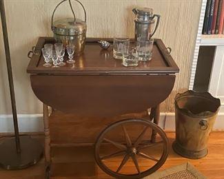Rolling wood liquor cart